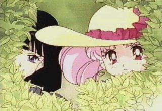 Chibi-Usa and Hotaru peeking out of a bush